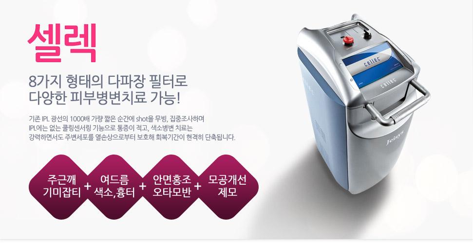 8가지 형태의 다파장 필터로 다양한 피부병변치료가 가능한 셀렉